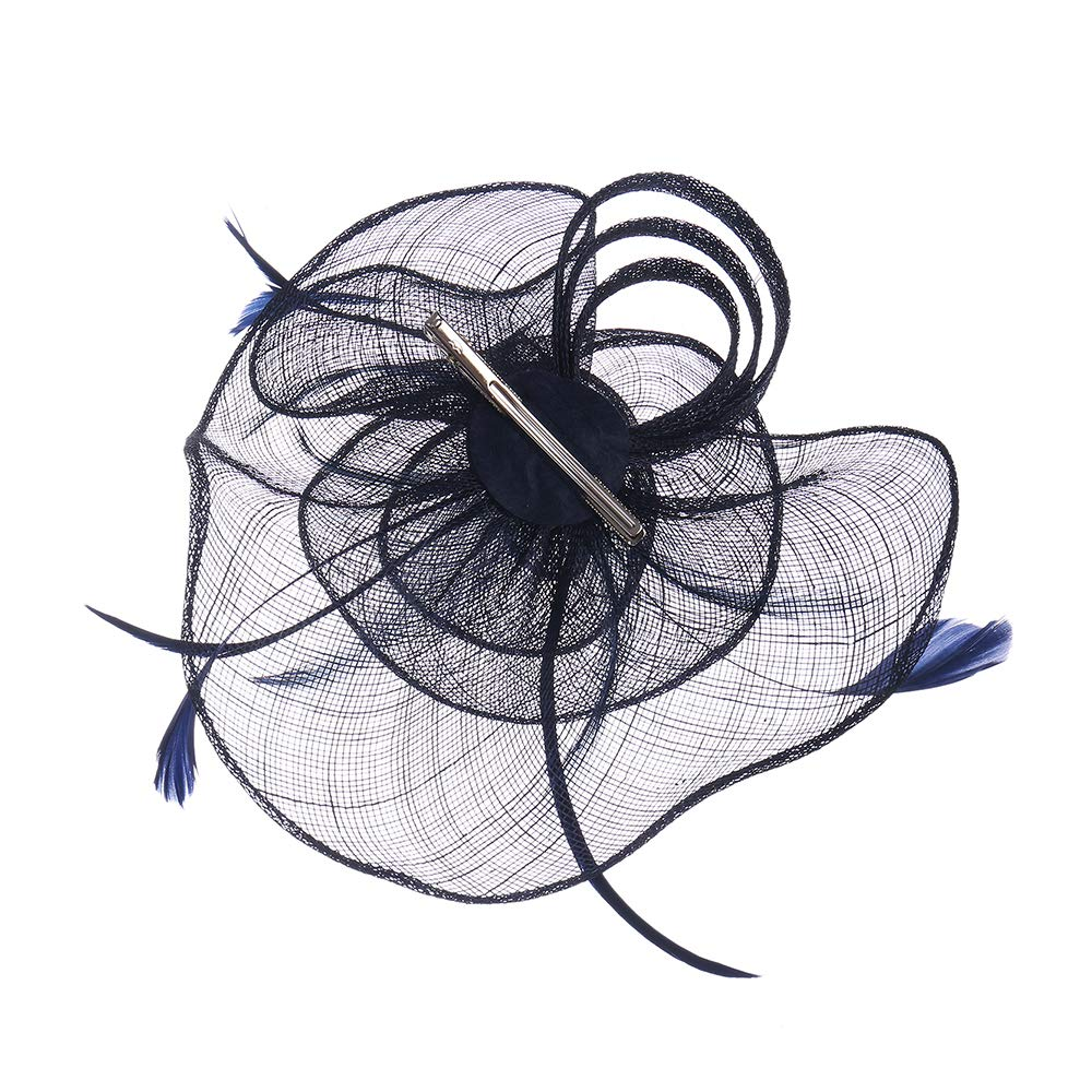 Felizhouse Sinamay Fascinators Pillbox Hats for Women Kentucky Derby Tea Party Flower Feather Veil Headband Hair Clip