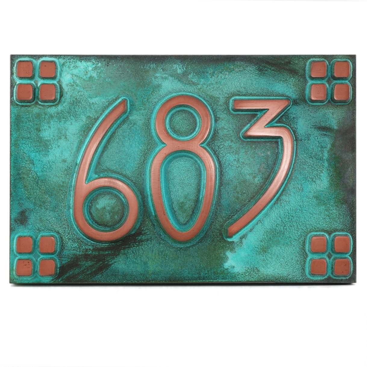 American Craftsman Address Plaque Squares Only 12x8 - Prairie Style - USA Made - Raised Copper Verdi Coated by Atlas Signs and Plaques