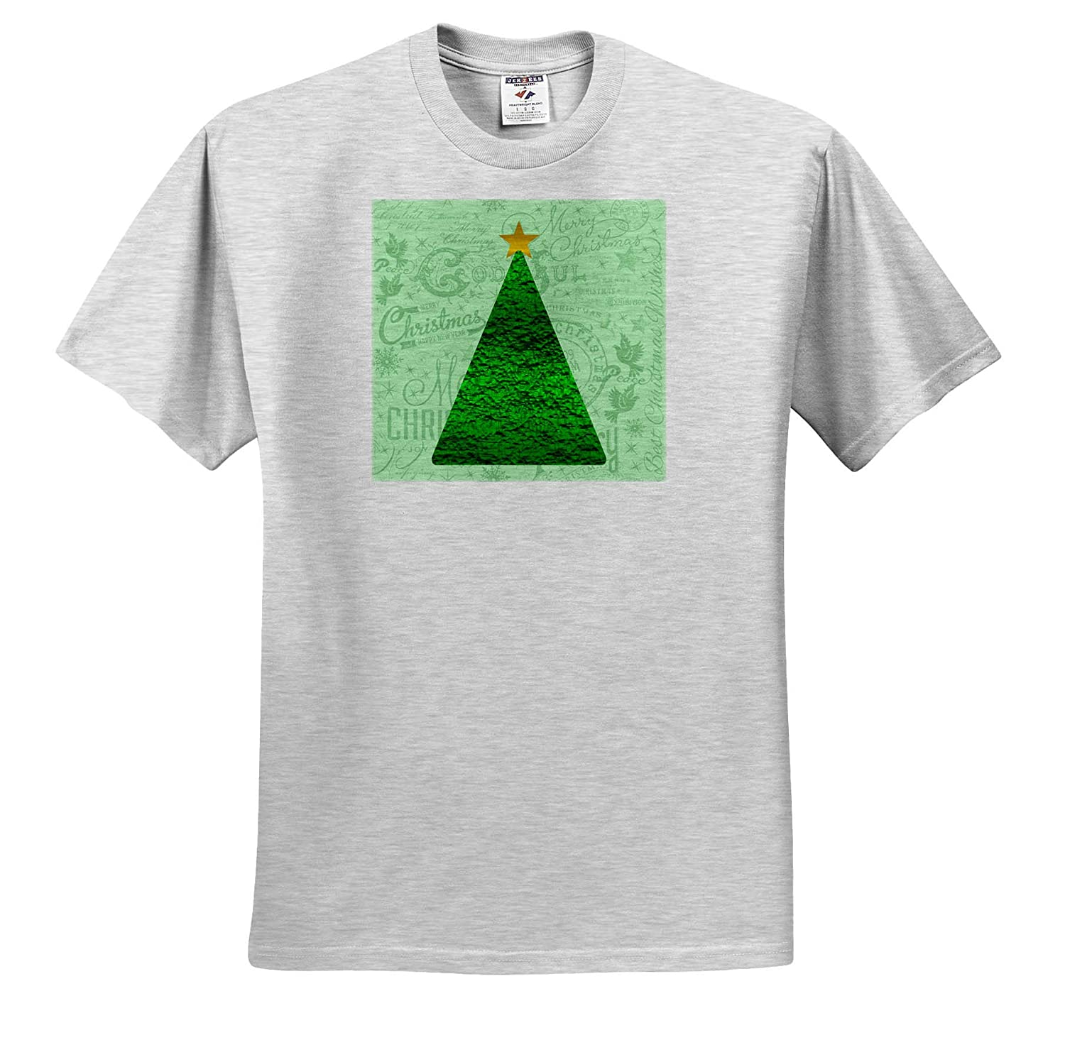 T-Shirts Green Christmas Tree On Handlettering Background 3dRose Andrea Haase Christmas Illustration
