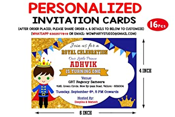 Wow Party Studio Personalized Prince Theme Birthday Party Invitation Cards With Birthday Boy Girl Name 16 Pieces