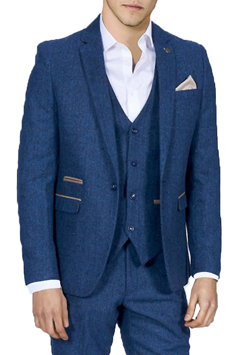 Mens Marc Darcy Designer Blazer Blue Herringbone Tweed Jacket
