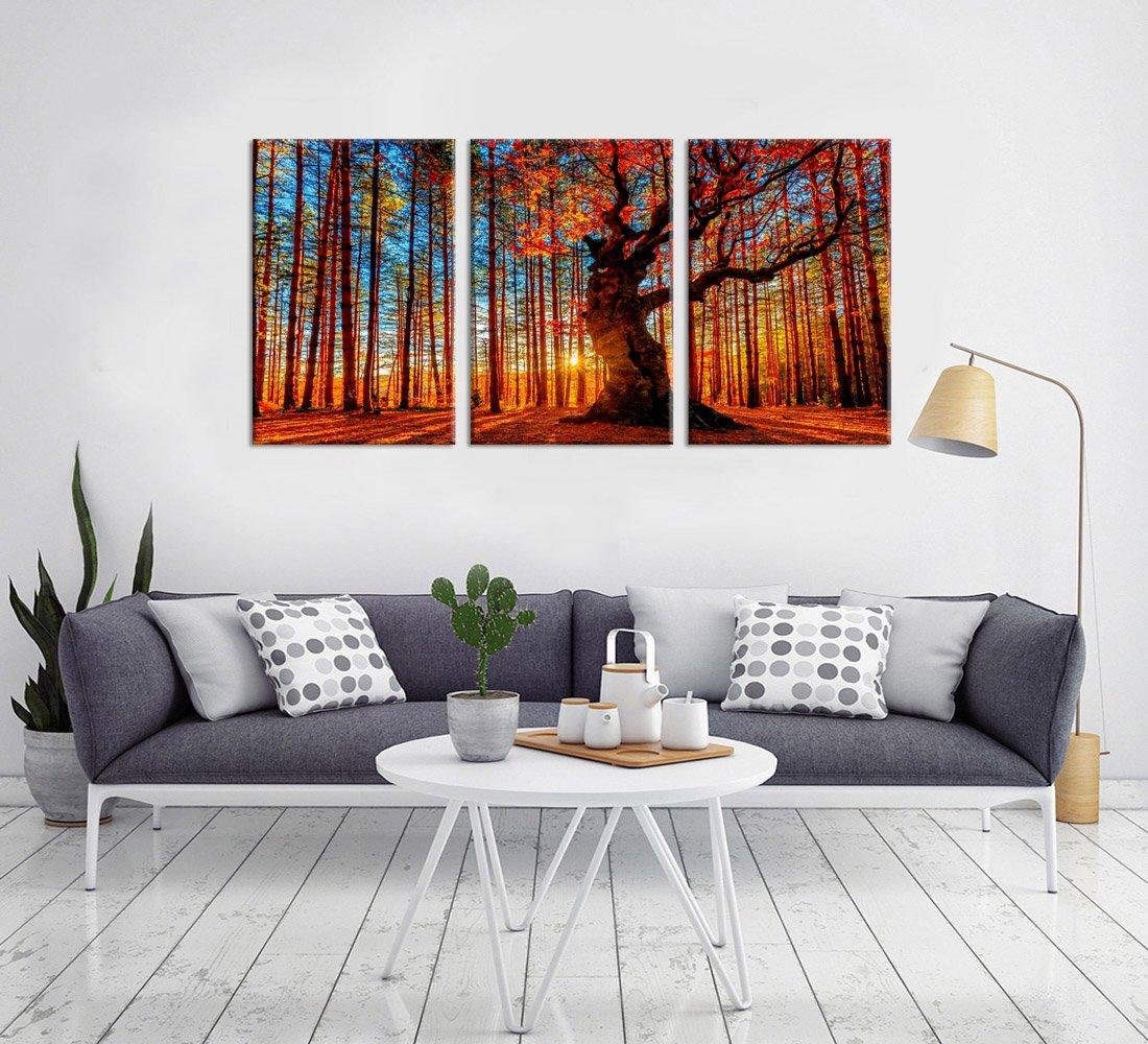 Amazon.com: yearainn Canvas Wall Art Red Forest Woods Sunset Nature ...