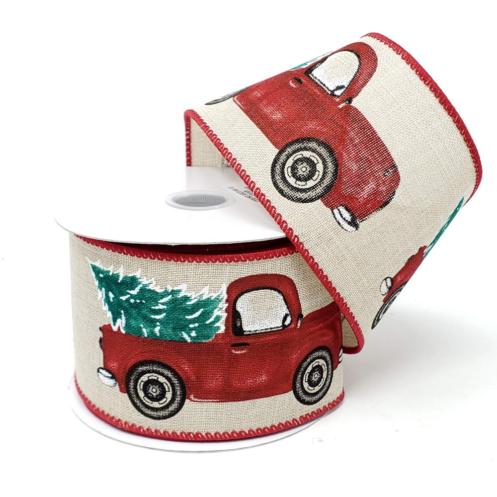 Homeford Christmas Red Truck with Tree Linen Ribbon, Light/Natural, 10-Yard