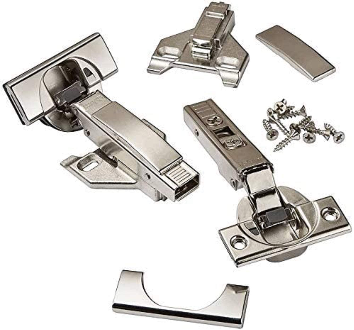 "Blum CLIP top BLUMOTION Soft Close Hinges, 110 degree, Self Closing, FACEFRAME with Mounting Plates, and hinge cover plates (1/2 to 3/4"" Overlay - Premium - 8 Pack)"
