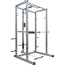 Merax Athletics Fitness Power Rack Olympic Squat Cage Home Gym with LAT Pull Attachment