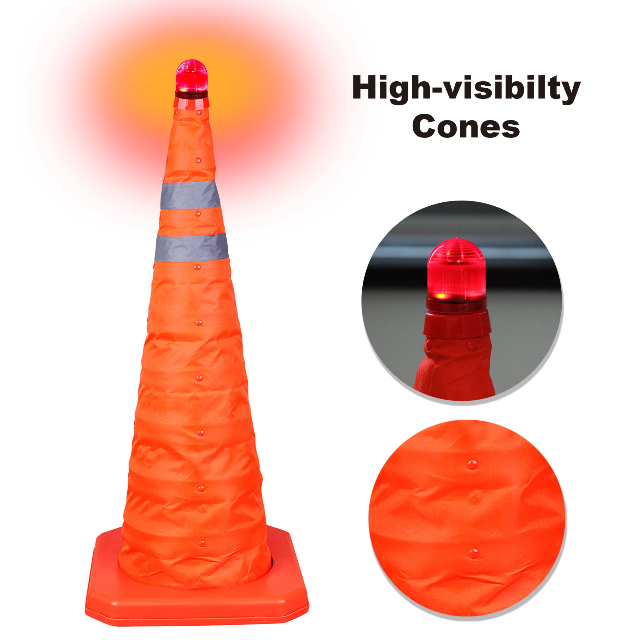 CARTMAN 27.5 inch Collapsible Traffic Cones with LED Light Multi Purpose Pop up Reflective Safety Cone 4PK by CARTMAN (Image #3)