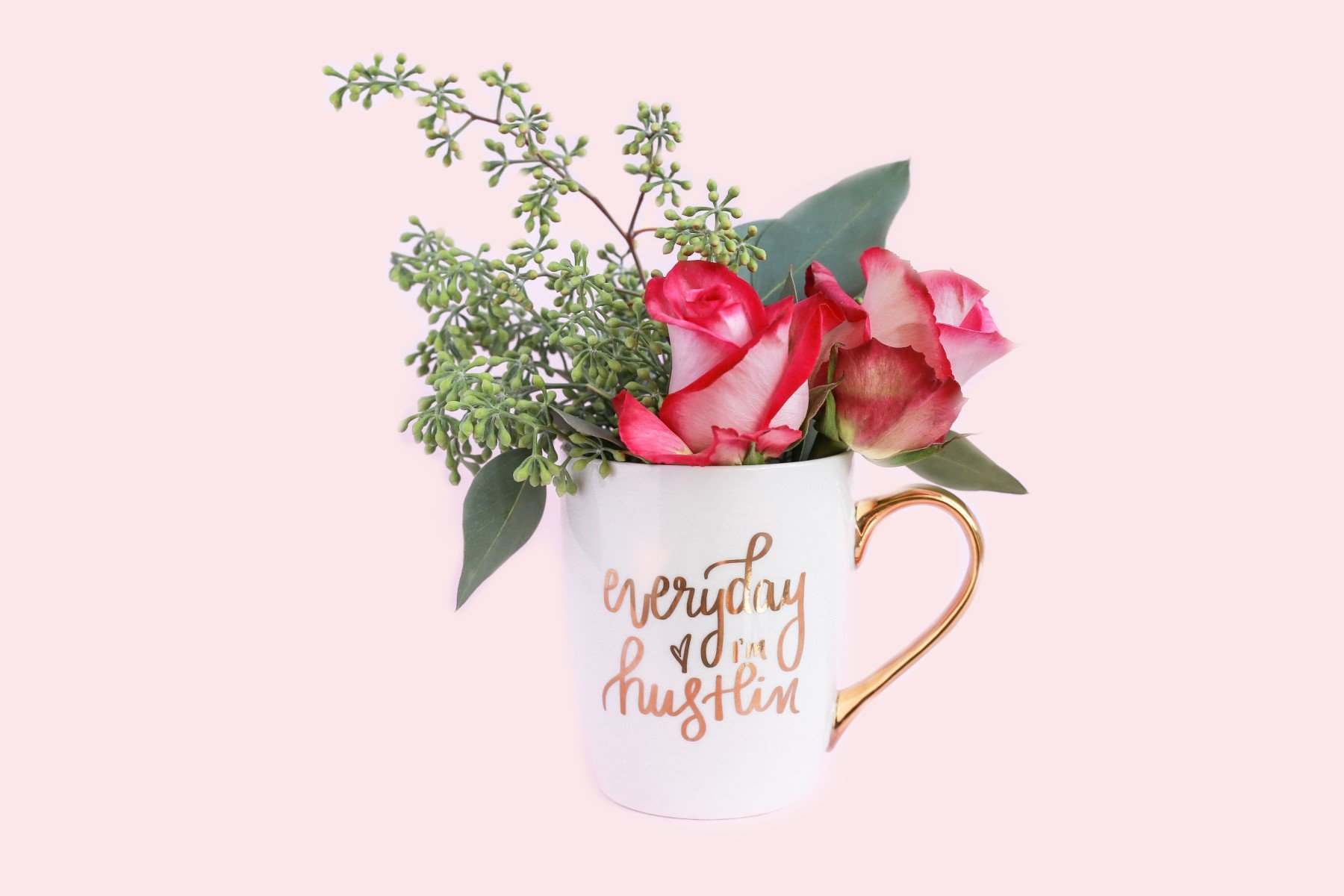 Everyday I'm Hustlin Gold Coffee Mug | Large Fancy Handle Inspirational Cup Cute Motivational Gifts You Got This 16 Ounces Ceramic Fine Bone China Hand Lettered by Sweet Water Decor (Image #4)
