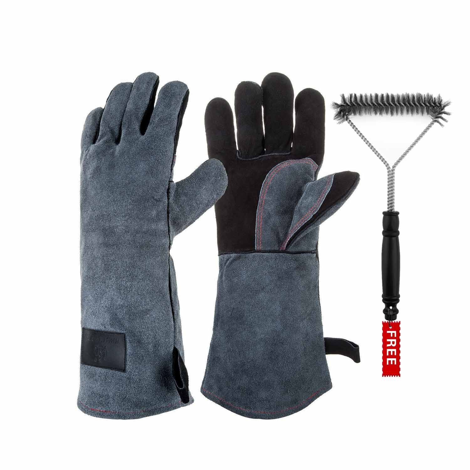 Heat Resistant Gloves & Free grill brush, BBQ Fireplace Gloves, 16-Inch Extra Long Sleeve Barbecue Grill Leather Glove Coopache