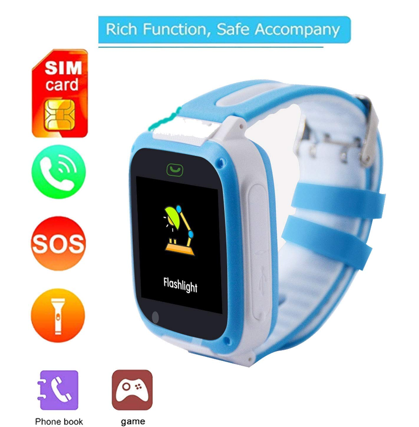 Youcoco Boys and Girls Muti-Function Smart Watch Phone Waterproof, with 1.54 Inch Touch Color LED Screen Display Smartwatch GPRS APGS Camera Toddler Smart Watch