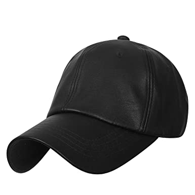 616124d2a ililily Solid Color Faux Leather Baseball Cap Adjustable Casual Trucker Hat