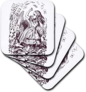 3dRose cst_179098_2 Alice in Wonderland with Playing Cards-Soft Coasters, Set of 8