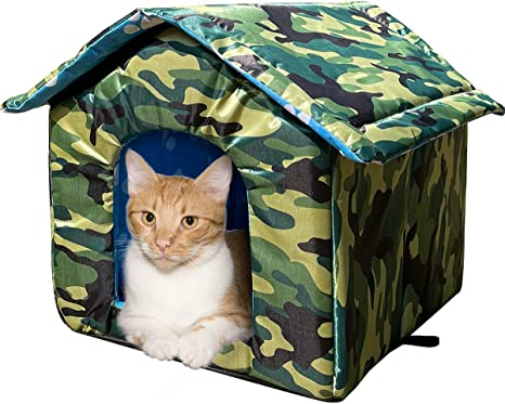 Cat House With Waterproof Canvas Roof Thickened Cold Proof Nest Kitty Shelter Feral Cat Cave Pet House Cat Dog Tent Cabin For Small Pet Indoor Outdoor Camouflage M Under 8 8lb