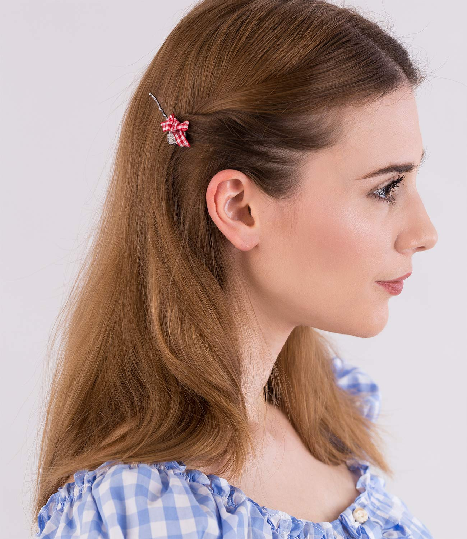 SIX 4er-Set Haarklammern: Verzierte Haarspangen mit Perle/Edelweiß/Schleife/Hirsch, perfekter Halt, ideal auch für das Oktoberfest (329-918)