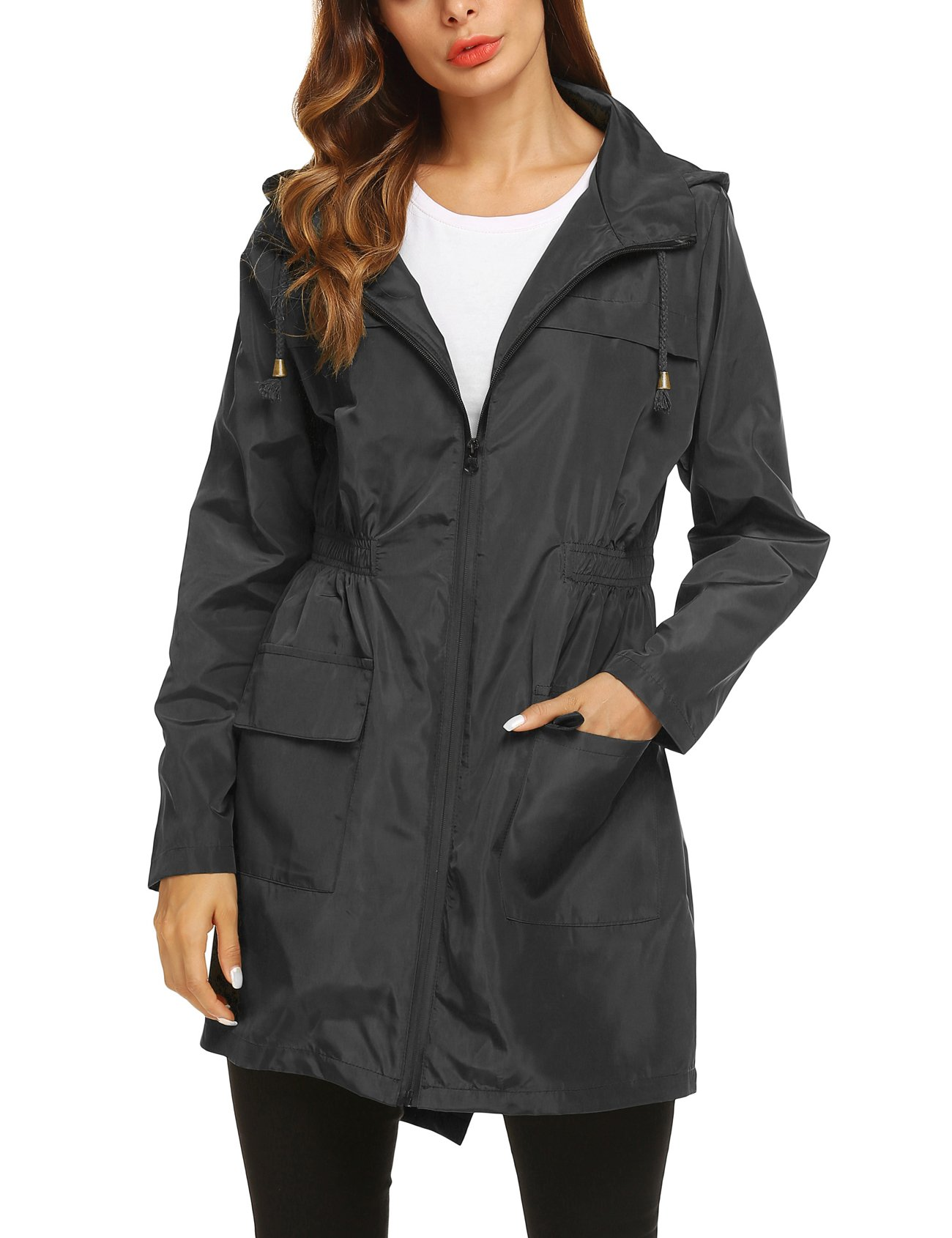 ZHENWEI Womens' Waterproof Lightweight Raincoat Hooded Outdoor Hiking Long Rain Jacket (S, Black1(with Black Zipper))
