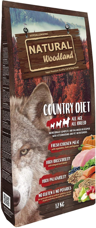 Natural Greatness Pienso Seco para Perros Receta Natural Woodland Country Diet. Super Premium. Todas Las Razas y Edades. Sin Gluten (12 Kg)
