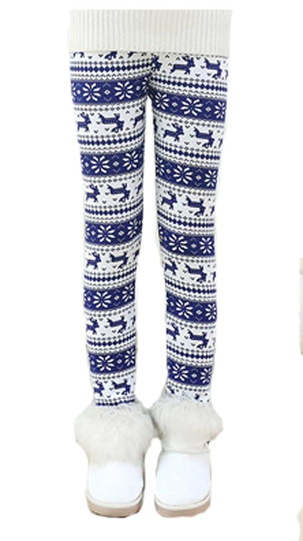 Thrivqyaf Kids Girls Christmas Winter Thick Pants Fleece Lined Footless Leggings 10932934011