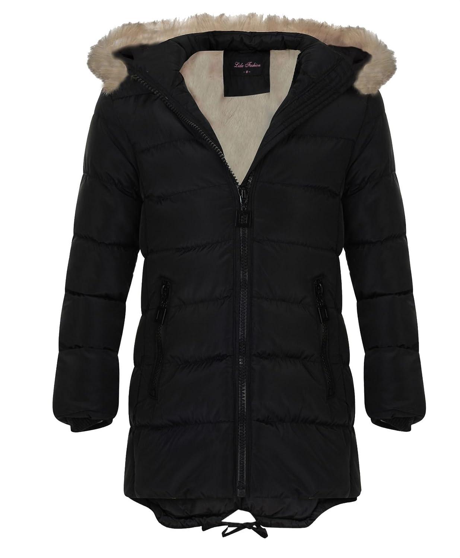 Girls Quilted Winter Coat Kids Detach Hood Padded Jacket Fur Lining Zip