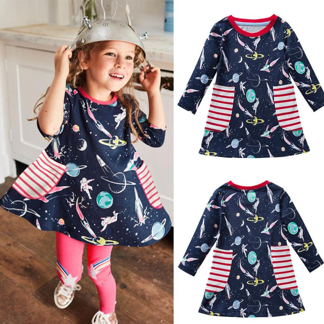 KaiCran Children Kids Girls Spring Autumn Casual Cotton Long Sleeves Space Printed Dresses with Pocket Size 2-7/