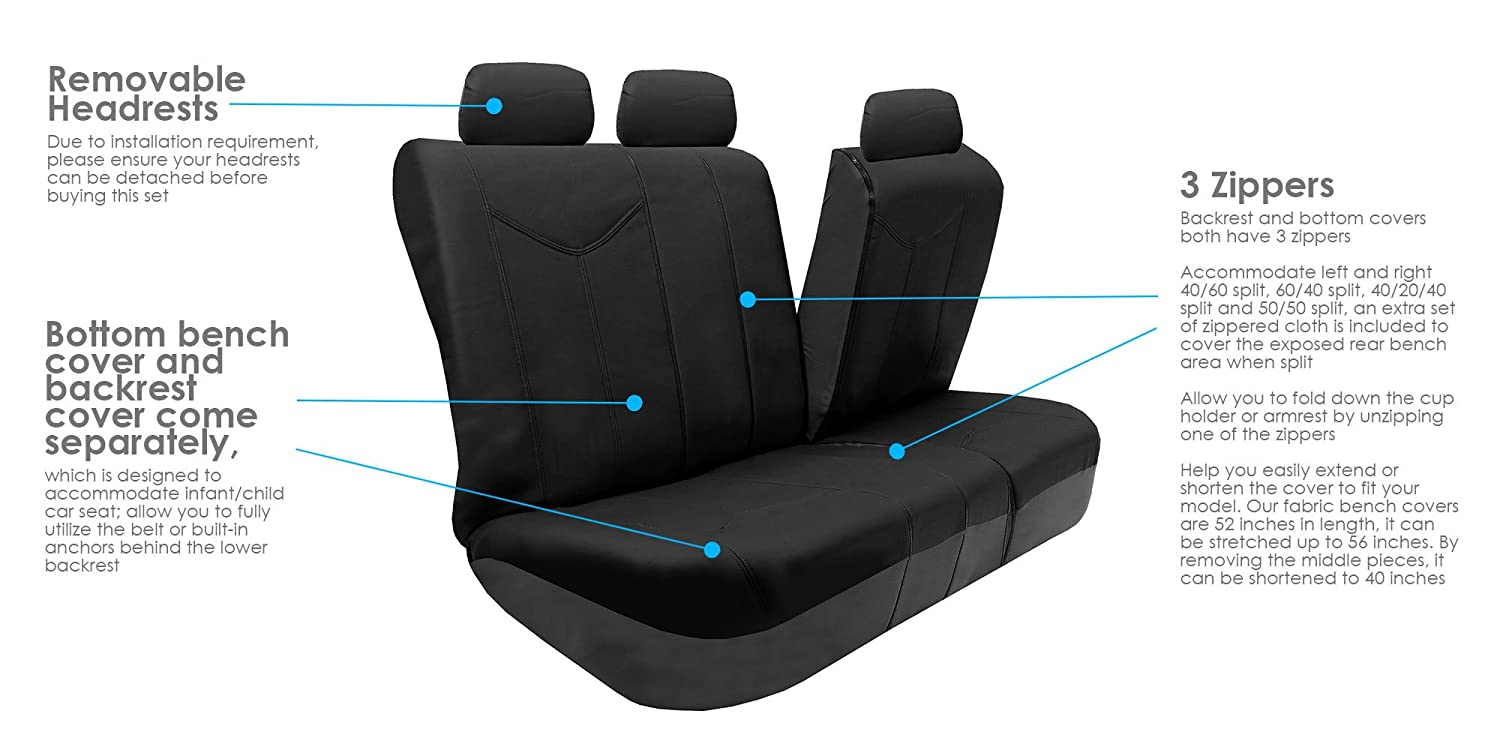 Fit Most Car Solid Gray FH GROUP PU009115 Rome PU Leather Full Set Car Seat Covers Airbag compatible and Split Bench Suv Truck or Van