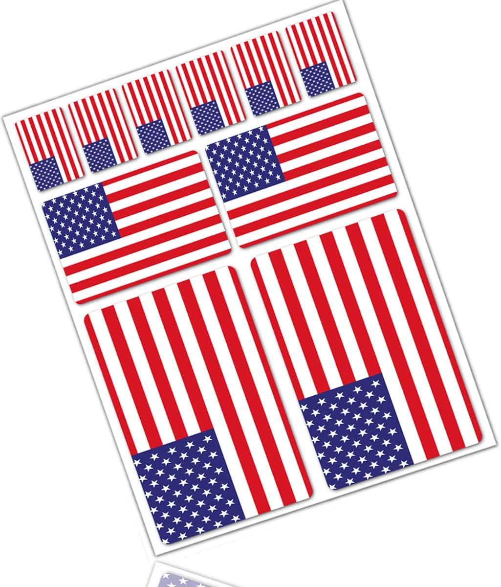 Biomar Labs 10 X Vinyl Aufkleber Autoaufkleber Stickers Fahne Flagge Usa Amerika America Amerikanische Auto Moto Motorrad Fahrrad Scooter Fenster D 39 Auto