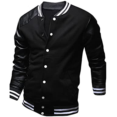 Amazon.com: EDC-OnSale Cool College Baseball Jacket Men New Fashion Design Black PU Leather Sleeve Mens Slim Fit Varsity Jacket Veste Homme XXL B0290Light ...