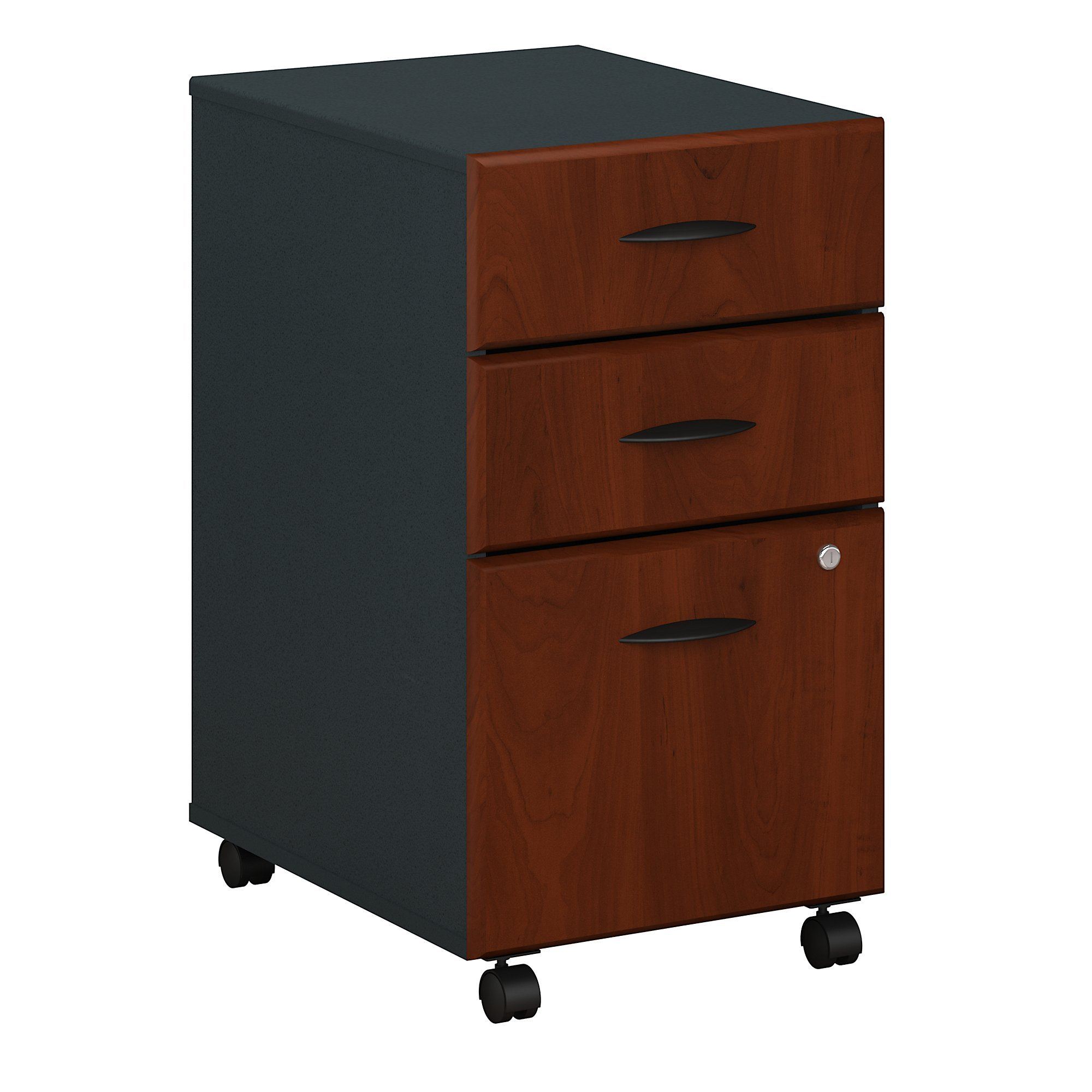 Bush Business Furniture Series A 3 Drawer Mobile File Cabinet in Hansen Cherry and Galaxy by Bush Business Furniture