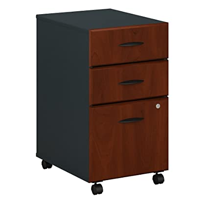 Bon Bush Business Furniture Series A 3 Drawer Mobile File Cabinet In Hansen  Cherry And Galaxy