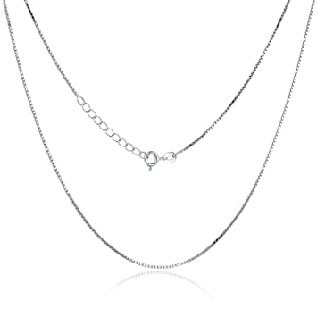 """STERLING SILVER ITALY BOX CHAIN NECKLACE 18/"""" 1mm"""
