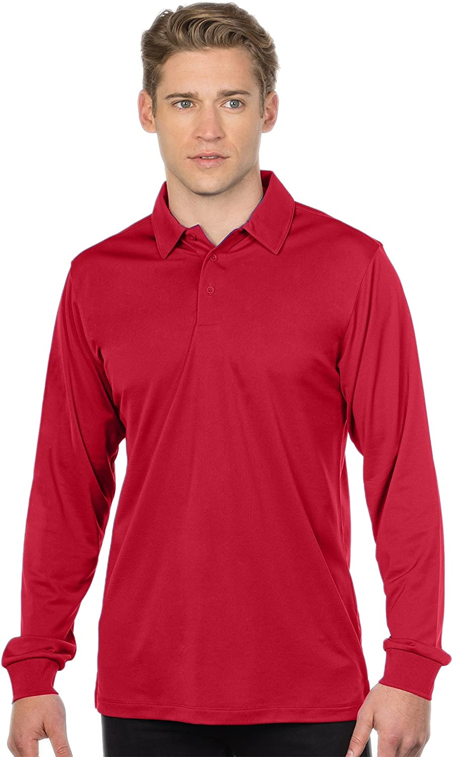 Tri-Mountain Men/'s Polyester Moisture Wick Long Sleeve Knit Polo T-Shirt K107LS