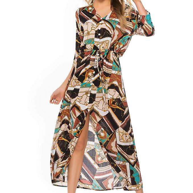 1cdaf00017d Women Vintage Plus Size Boho Button Down Patchwork Split Maxi Dress Elegant  3/4 Sleeve