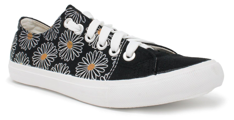 Daisy Flower Sneakers | Cute Fun Pretty Art Gym Daisey Tennis Shoe - Women Men - (Lowtop, US Men's 10, US Women's 12)