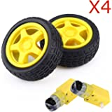 4 Pcs Arduino Plastic Tire Wheel with DC 3V 5V 6v Gear Motor For DIY Robot Smart Car Robot