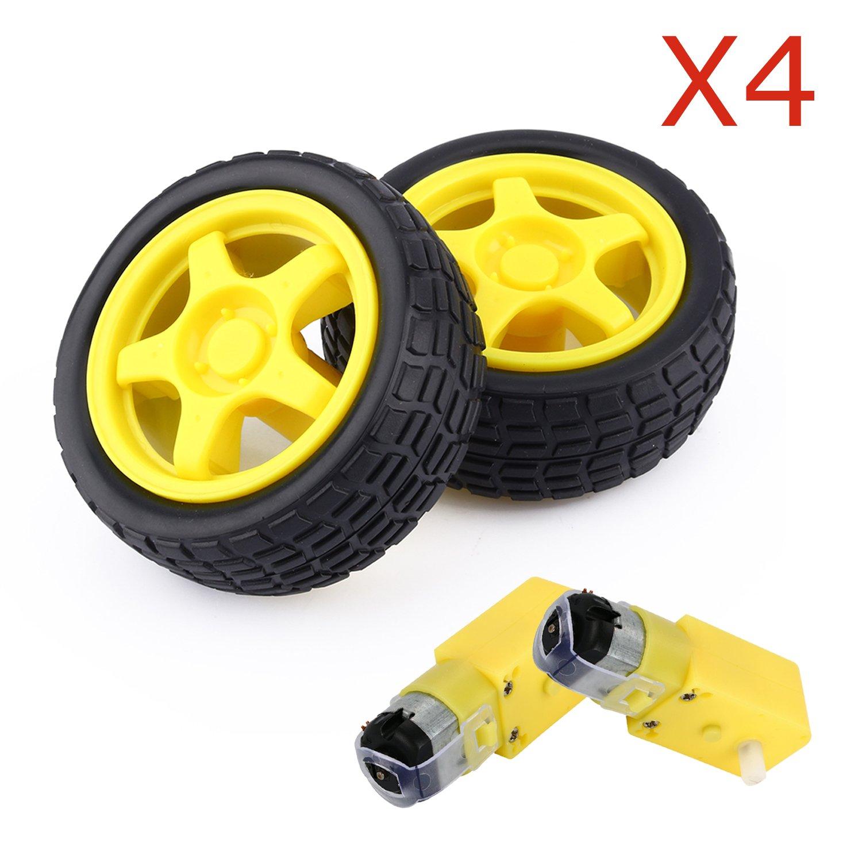 amazon com 4 pcs arduino plastic tire wheel with dc 3v 5v 6v gear