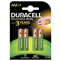 Duracell DC2400 Recharge Plus Type AAA Battery - 750mah, Pack of 4 -Multicolour