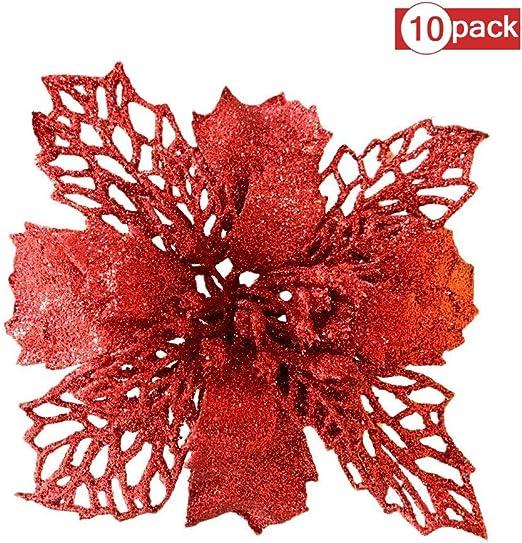 Babyyyon - Pack de 10 Adornos de árbol de Navidad con Purpurina para decoración de Bodas, Navidad y Flor de Pascua (Rojo): Amazon.es: Hogar