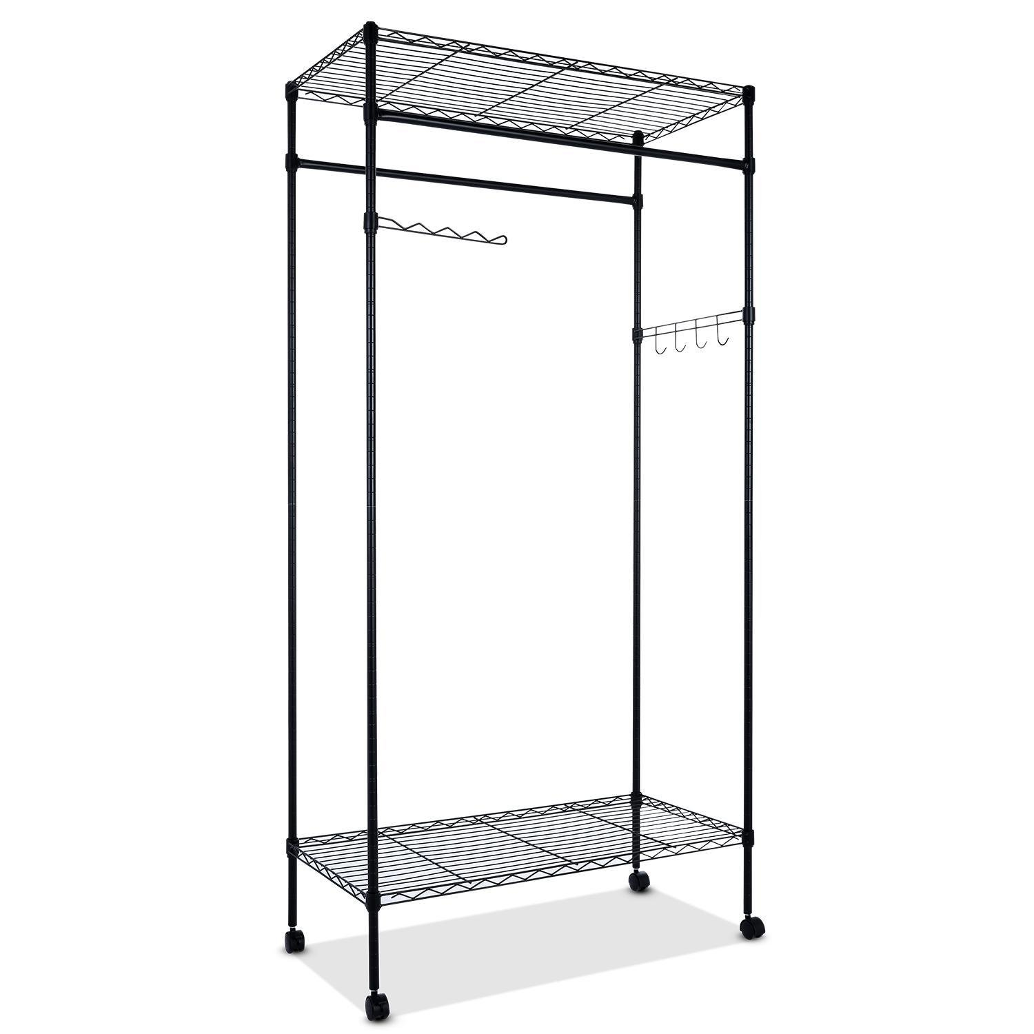 Heavy Duty Rolling Garment Rack with Wheels and Shelves, Portable Clothes Wardrobe Clothing Rack Home Closet Hanger Storage Organizer (US STOCK)