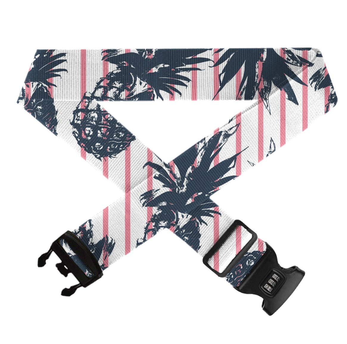 Tropical Plants Pineapple Funnny Travel Luggage Strap Elastic Adjustable Length Luggage Packing Belt With Combination Lock And Buckle Closure Travel Belts Accessories