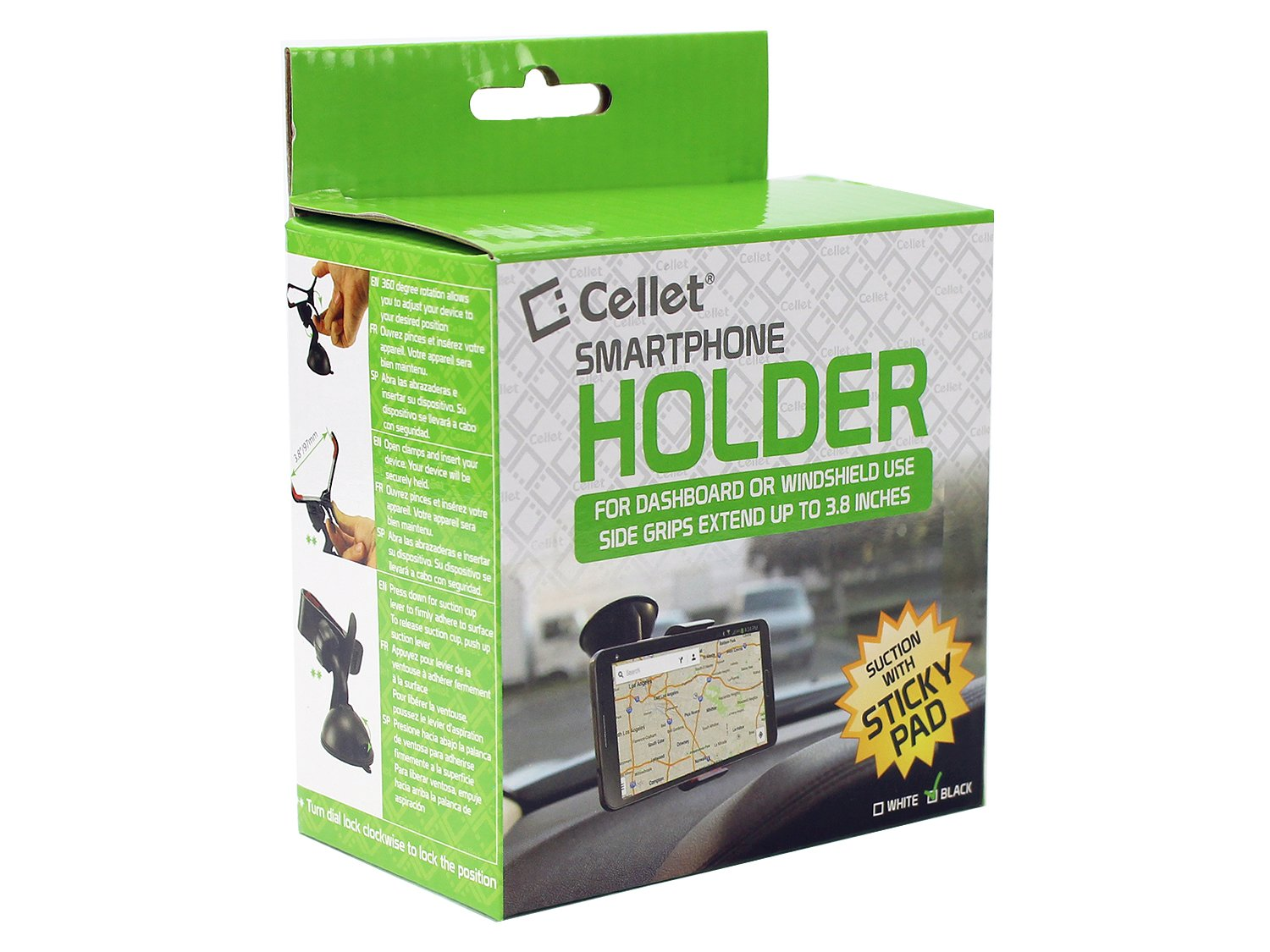 Cellet PHT850BK Dashboard//Windshield Car Clip Mount Holder with Sticky Pad for Samsung Galaxy S8 S8 Plus S6 S5 Note 8// Apple iPhone X 8//8 Plus and other Phones and GPS up to 3.8 Inches Wide