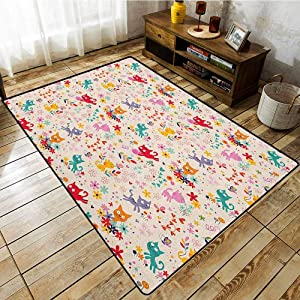 "Rectangular Rug,Kitten,Playful Happy Kittens Chasing Butterflies and Wool Balls Among Colorful Flowers,Anti-Slip Doormat Footpad Machine Washable,3'11""x5'10"" Multicolor"