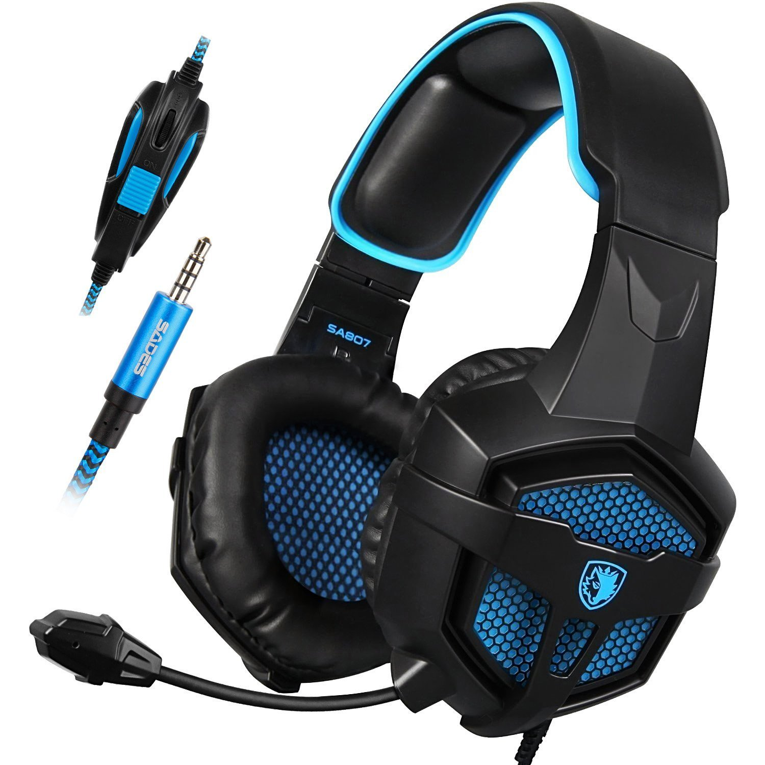 SADES SA807 3.5mm Wired Multi-Platform Stero Sound Gaming Headset Over Ear Gaming Headphones with Mic Volume Control for New Xbox one/PS4/PC/Laptop/Mac/iPad/iPod (Black Blue) by SADES