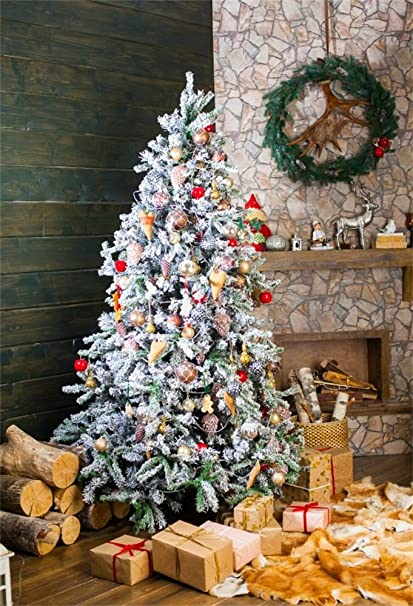 ofila christmas backdrop decoration 5x7ft photography backdrop christmas tree wood piles fireplace garland gifts wooden wall - Christmas Decoration Video