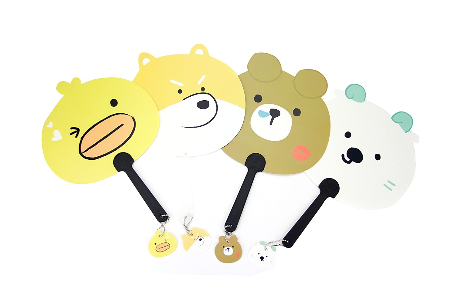 EIKS Plastic Carton Cute Animal Face Fans for Concert Camping Outdoor Party