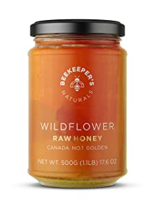 BEEKEEPER'S NATURALS Wildflower Honey - Raw, Wildcrafted, and Unprocessed- Rich in Nutrients and Beneficial Enzymes- Notes of Mint & Lavender-100% Raw, Pure Honey- Paleo-friendly, Gluten-Free (1.1lbs)