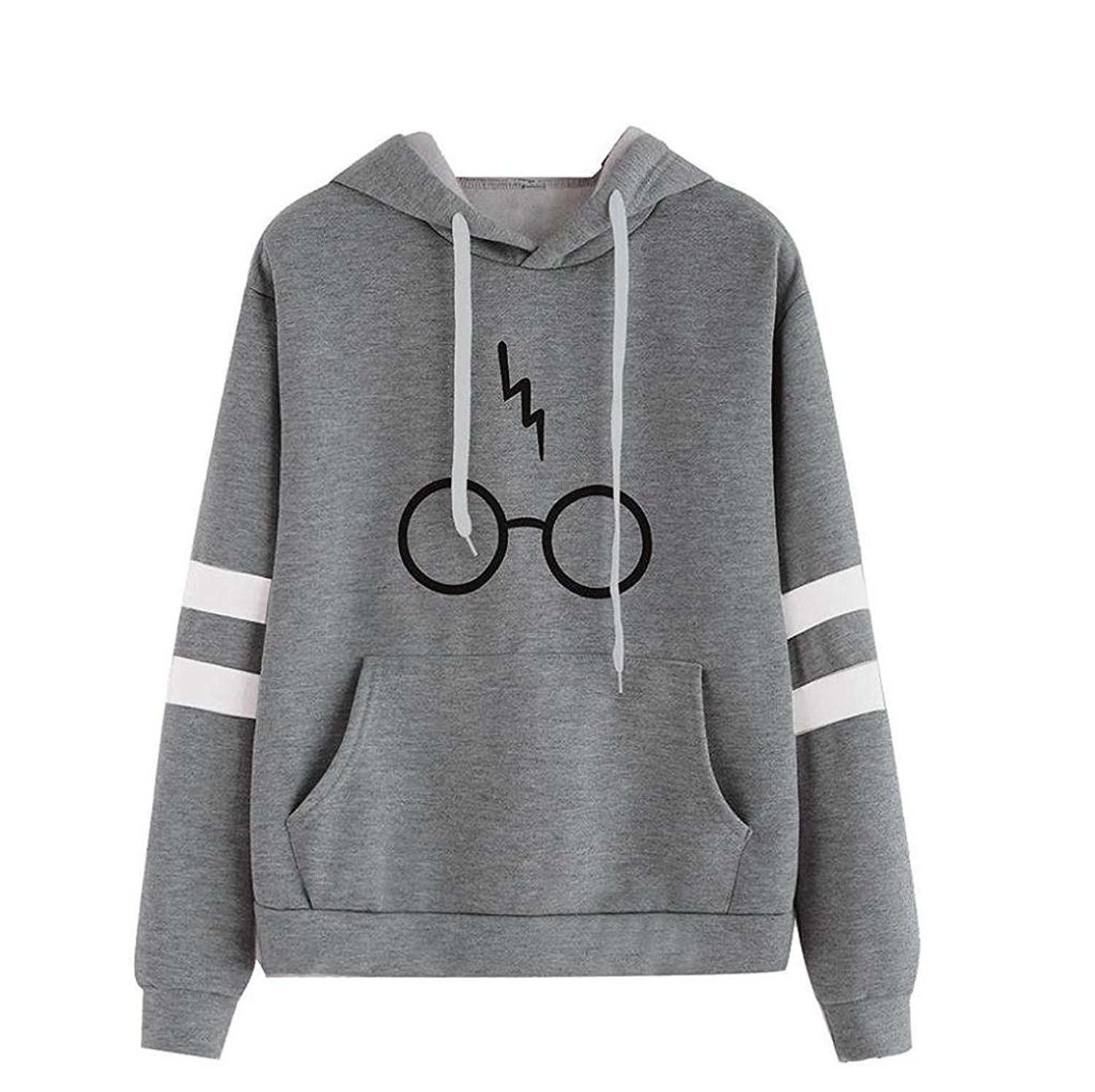 Lihuang Women's Autumn Fashion Long Sleeve Pullover Harry Potter Glasses Prints Hoodies Hooded Sweatshirt Sweater Tops