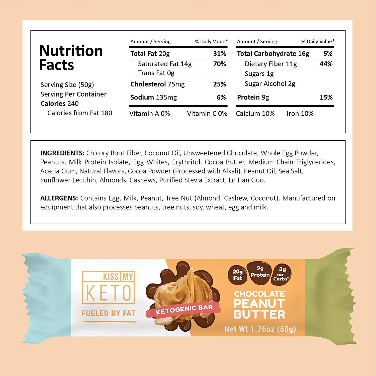 Kiss My Keto Snacks Keto Bars - Keto Chocolate Variety Pack (12) Nutritional Keto Food Bars, Paleo, Low Carb/Glycemic Keto Friendly Foods, Natural On-The-Go Snacks, Quality Fat Bars 3g Net Carbs by Kiss My Keto (Image #3)