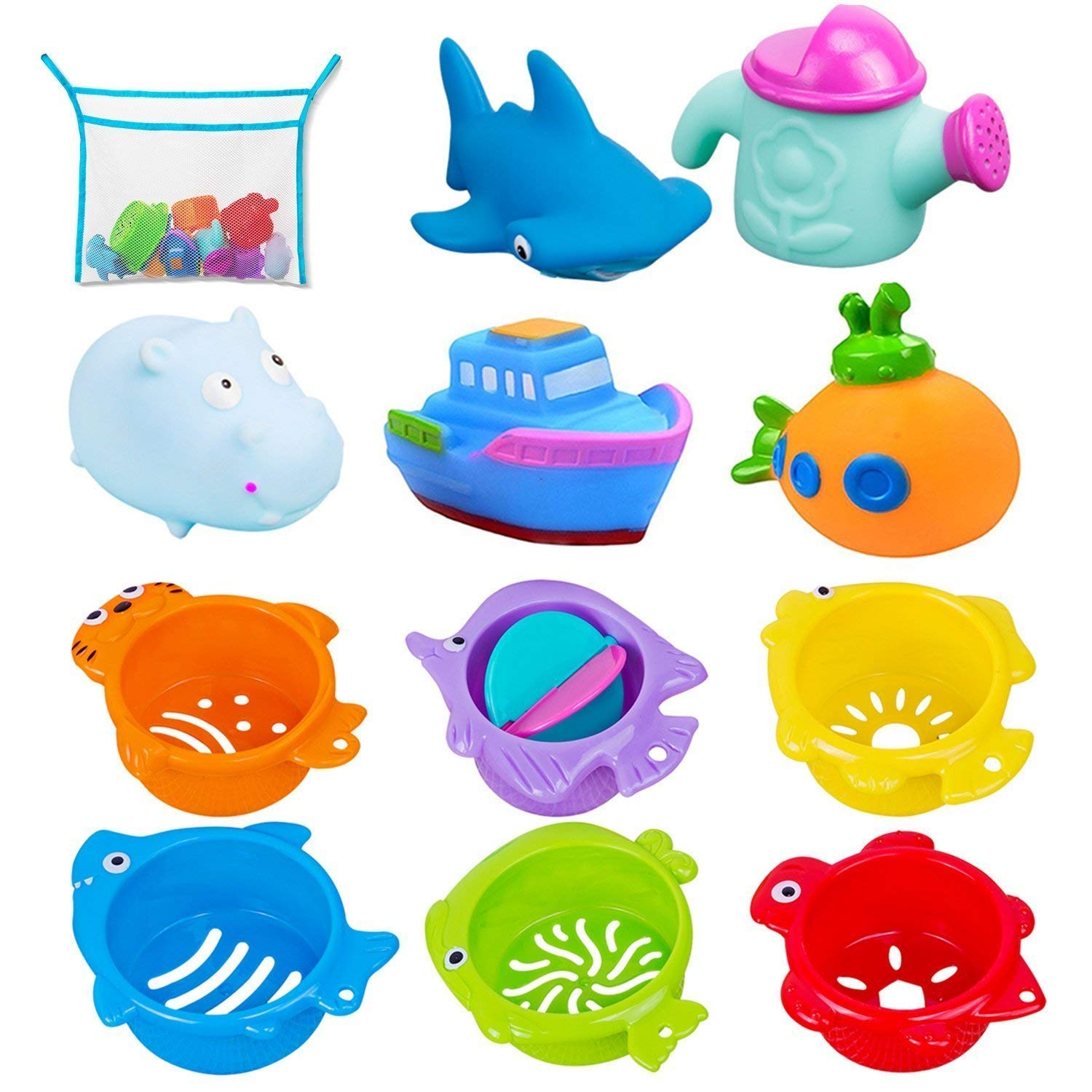 Bath Toys and Stacking Cups for Toddlers with Quick Dry Organizer Net-12 Pcs Early Educational Toy for Bathtub Game, Beach and Pool Party