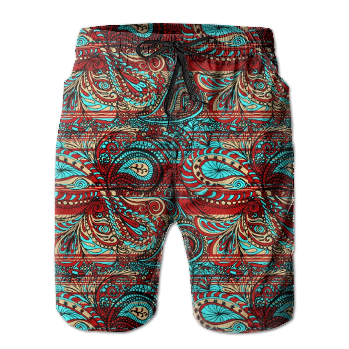 FUNSTYEET Paisley Bright Decorative Pattern Mens Board Shorts Swim Mesh Lining and Side Pocket