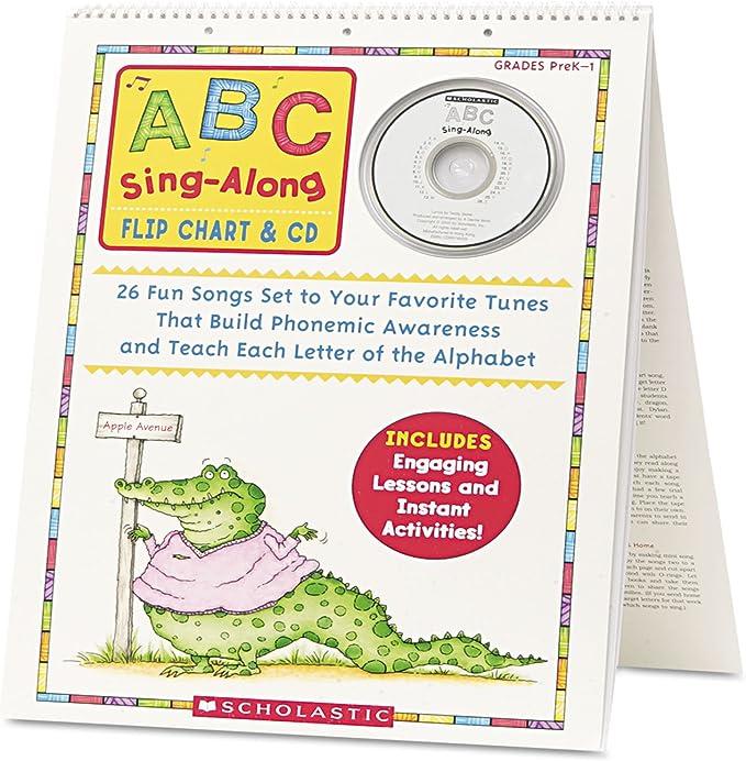 Pack of 2 Scholastic SC-9780545104357 Phonics Sing-Along Flip Chart /& CD