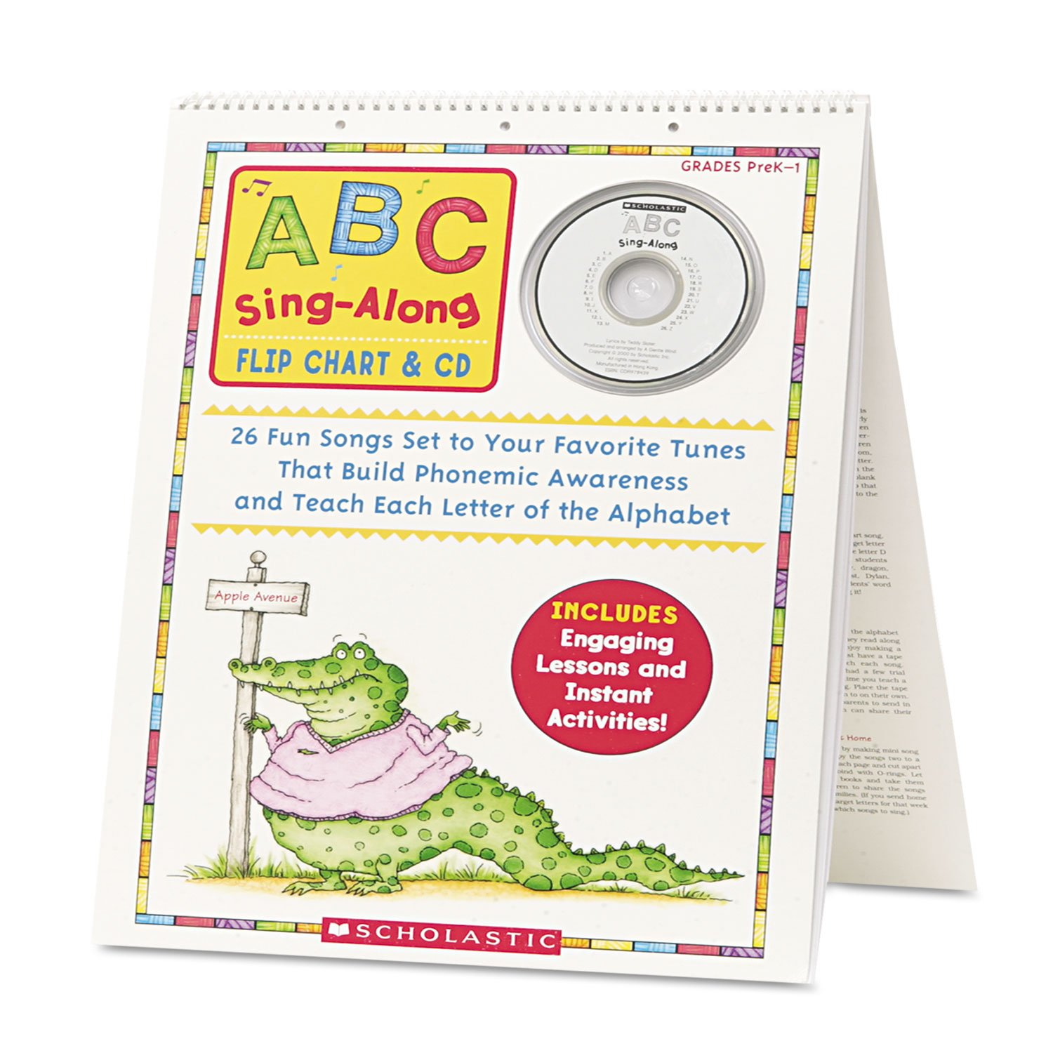 amazon com scholastic abc singalong flip chart with cd 26 pages