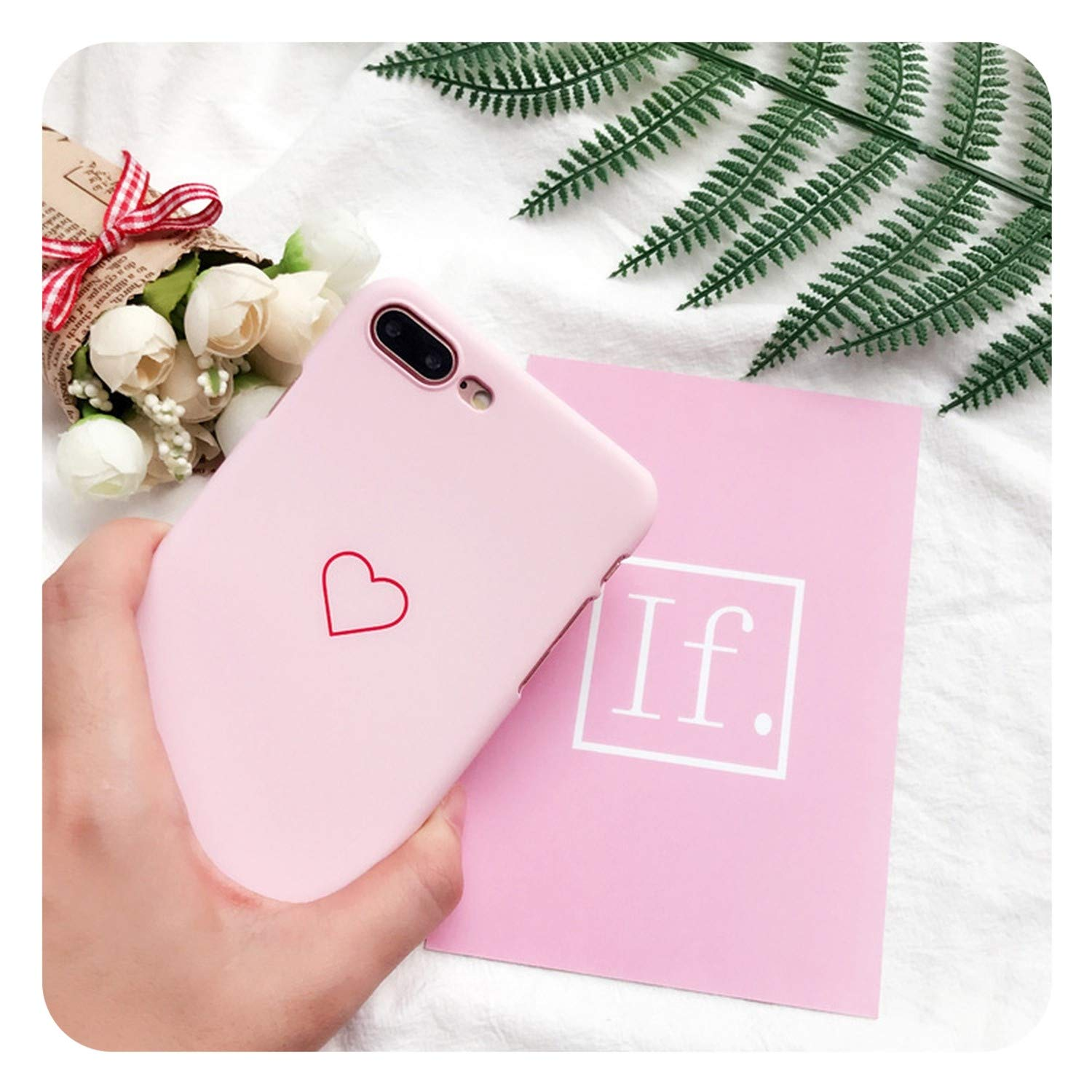 57224a4b1e Amazon.com: ksky qiang Phone Case for iPhone 6 6s 7 8 Plus X XR XS Max 5 5s  SE Cute Cartoon Love Heart Hard PC Couple Fundas for iPhone X Cover,Pink,for  ...